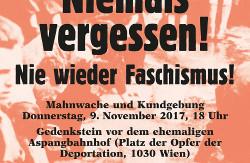 """Ausschnitt aus einem Flyer. Vom Text """"Niemals vergessen!"""" ist das """"Niemals"""" oben etwas abgeschnitten. Darunter der Ruf """"Nie wieder Faschismus!"""" und, wieder etwas kleiner, die Daten zur Mahnwache (vgl. Text)."""