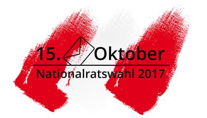 Logo für Nationalratswahl 2017 rot-weiss-rot hinterlegt